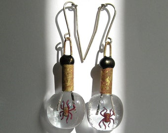 200 Steampunk Burning Man Earrings Dark Mori Girl Art Glass Fusion