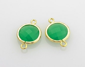 2003051 / Palace Green Opal / 16k Gold Plated Brass Framed Glass Connector 17mm x 12mm / 0.9g / 2pcs
