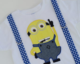 Two Eyed Minion Inspired T Shirt with Suspenders  Sizes  0-3 mo, 3-6 mo, 6-12 mo, 18 mo, 24mo, 2t, 3t, 4t, 5/6