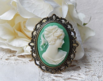 Cameo brooch,Sihlouette cameo,Vintage Young woman cameo brooch,Unique gift