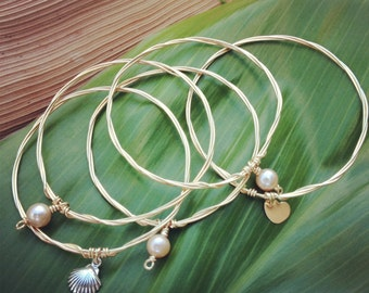 14K Gold Filled Little Girl Bangles with Charms