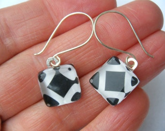 Black White QR Code Glass Tile Earrings OOAK Scan Codes Geometric Modern Recycled Paper Material Repurposed Sterling Silver Wire Art Jewelry