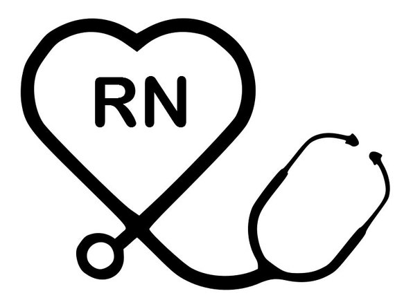 items similar to heart stethoscope rn decal on etsy