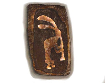 "Kokopelli lighted panel 16""x9.5"" - rustic sheet metal wall art with battery operated lighting on a timer"