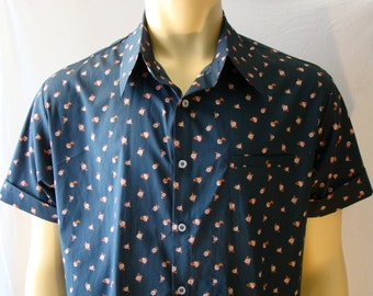 Men's short sleeve button-down shirt- handmade- geometric -flower- cotton fabric- pocket- for men