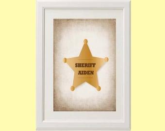 8x10 or 11x14 Personalized Sheriff Badge Nursery Art Print | Custom Western Decor
