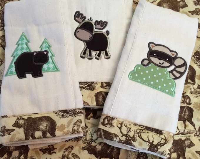 Woodland Animals Set-3 Burp Cloths. Includes Racoon, Bear, and Moose. Made from OsoCosy unbleached 100% indian cotton super soft diaper!