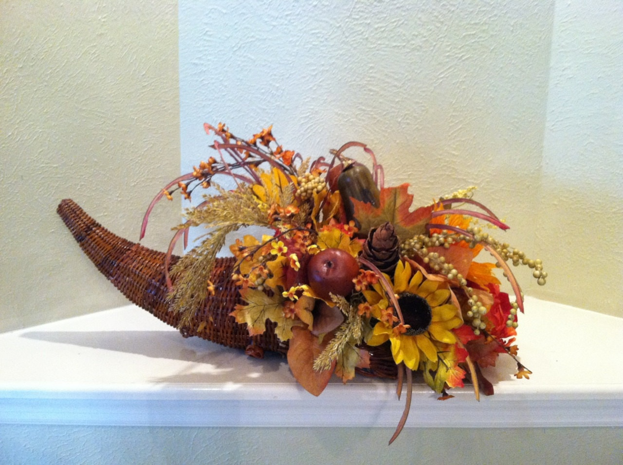 Cornucopia basket faux floral centerpiece by greatwoodflorals