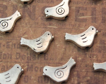 10 Bird Charms Bird Pendants Antiqued Silver Double Sided 10 x 15 mm