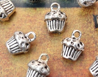 10 Cup Cake Charms Cup Cake Pendants Antiqued Silver Double Sided 3D 10 x 10 mm