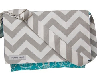On Sale! Gray Chevron and Teal Floral Camera and Messenger Bag with a flower