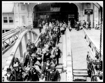 Irish immigrants at Ellis Island America c1900. Print