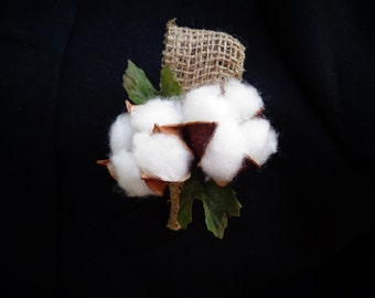 Boutonniere designed with cotton balls