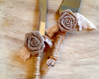 Rustic Chic Cake Server Set Cake Knife and Server Jute Wrapped with Burlap Rosette and Tea Dyed Lace