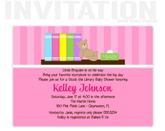 Baby Books Girl Birthday Party Invitations, personalized thank you cards, birthday invitations, party invitations / No.168