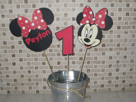 Piece minnie mouse centerpiece red white by