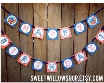 Wallykazam Happy Birthday banner Instant Download-By Sweet Willow Designs