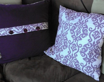 Square lavendar pillow covers - two looks for the price of one