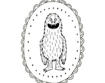 BigFoot Sasquatch Yeti Cryptozoology Cryptid Download Printable Embroidery Pattern Digital Downloadable Hand Embroidery 0060
