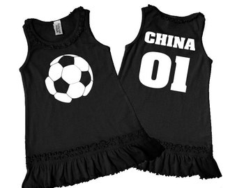6M-6X Infant, Toddler & Girls Personalized Soccer Ruffle Tank Dress. Baby Shower Gift. Soccer girl clothes.