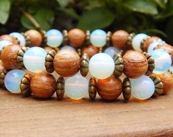 Set of 2 Layered Bracelets, Opalite Bracelets, Beaded Bracelet, Nature Bracelets, 2 Stacked Bracelets, Boho Chic Bracelets, Wood Bracelets
