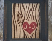 Faux Bois Burlap Print with Heart and Name or Initials