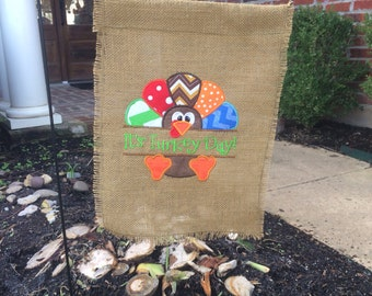 Custom Turkey/Thanksgiving  Burlap Garden Flag