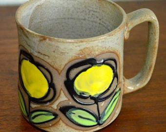 Mid Century Pottery Mug With Flowers