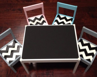 BLack Matte Chalkboard Play Table and 4 Chairs