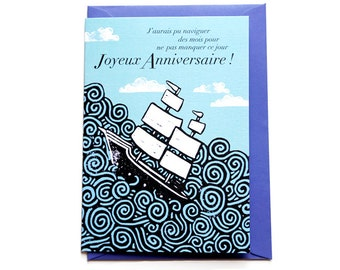 Birthday Card - Blue ship, with its envelope