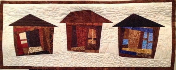 Art Quilt Houses Brown, Quilted Wall Hanging