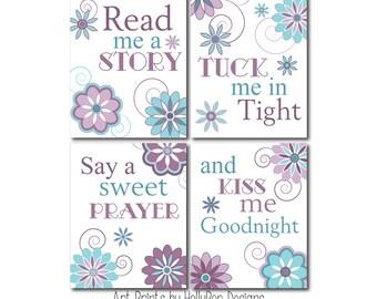Read Me A Story Girls Room Wall Art Purple Aqua Teal Girl Nursery Decor Nursery Art Prints Purple Nursery Art Toddler Girl Bedroom Art Decor