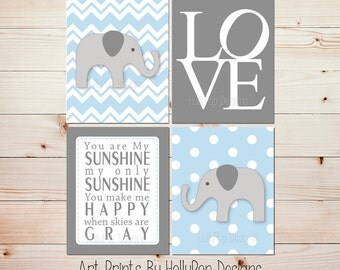 You are my Sunshine Kids room decor Kids wall art Boy elephant decor Baby boy nursery art Elephant decor boy Blue gray boy nursery #0720
