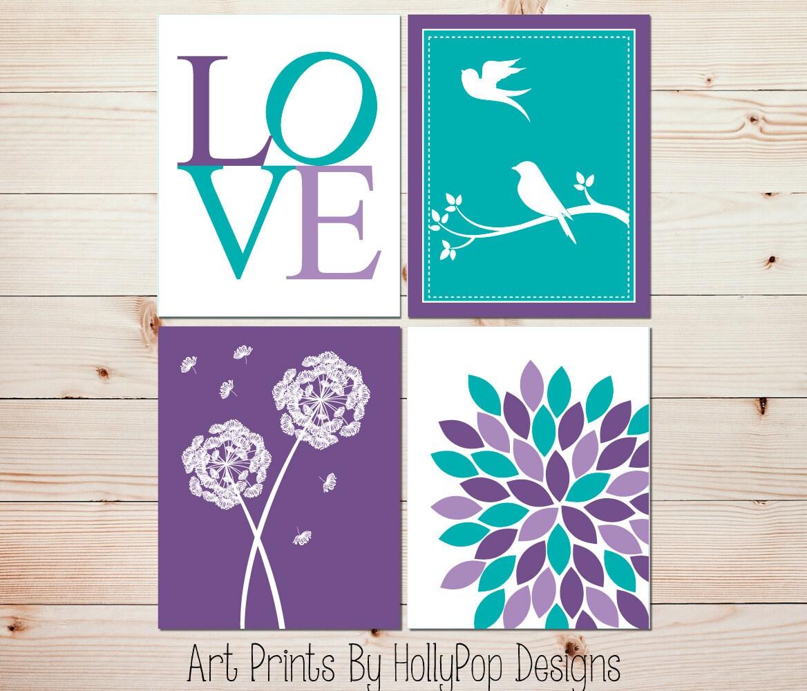 Purple Turquoise Girls Room Decor Girl Prints Girl Art Prints