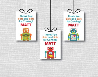 Robot Favor Thank You Tags - Robot Themed Birthday Party - Digital Design or Handcrafted Tags - FREE SHIPPING