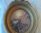 Vintage Wall Hanging Homco Ornate Bird Picture in Oval Frame