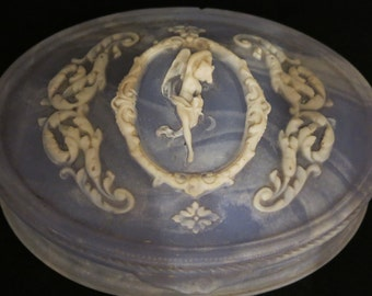 """Vintage Blue White Angel  Floral Design Incolay Stone Oval Jewelry Box 2"""" tall 6.75"""" wide 5.25"""" deep."""