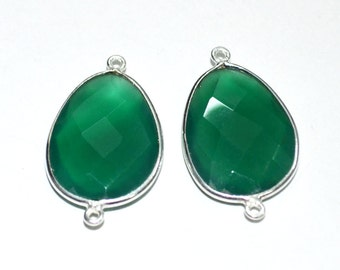 5 pc of  15x20 mm Green Onyx connector in 92.5 sterling silver
