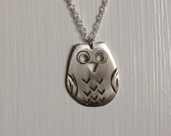 Owl Sterling Silver Textured Pendant (BL0007)