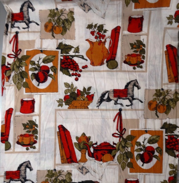 Vintage 1960s Cotton Fabric with Dominant Red Color BY