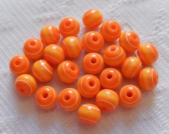 25  Orange Yellow & White Striped Round Resin Acrylic Beads  8mm
