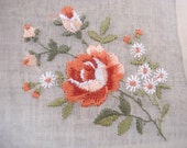 Superb Vintage Handkerchief  Made in Switzerland by Lehner, Finest Cotton Floral Hand Embroidery  Rose