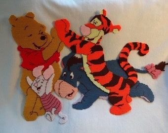 "Winnie The Pooh and Friends Plastic Canvas 21"" x 28"" Wall Hanging ..."