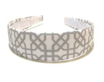 Fabric Covered Headband Gray White Geometric Cross Girls Headband Adult Headband Cute Headband Preppy Boutique Birthday Gift Party Favors