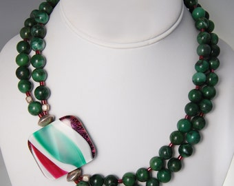 Double Strand Malachite Necklace, Ruby Seed Beads, Handmade glass pendant