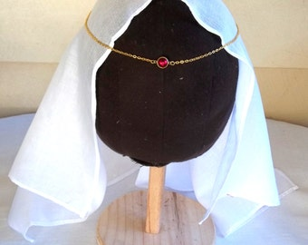 Brass/Gold tone Medieval Red Swarovski CIRCLET Re-enactment Parties Wedding Costume Necklace LARP SCA Cosplay
