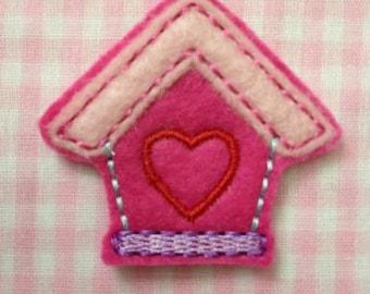 Birdhouse with Heart Embroidery Design Feltie