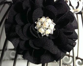 Black flower hair clip, girls hair flower, black flower hair clip, dahlia style flower hair clip hair accessory