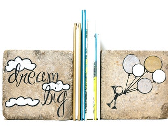 Rustic Childrens Bookends- dream big -Nursery Decor/ Kid Room Decor/ Woodland Nursery.