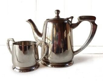 Vintage Silvered Brass Set   :  Coffee Pot  and Sugar Pot